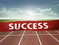 Finish line to success. Run toward the  finish line of success Royalty Free Stock Image