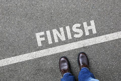 Finish line winning success running race businessman business ma Stock Photography