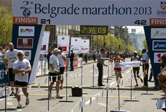 Finish of marathon for women Stock Photography