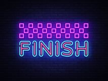 Finish neon sign vector. Finish Design template neon sign, light banner, neon signboard, nightly bright advertising. Light inscription. Vector illustration Royalty Free Stock Images