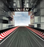 Finish panel above racetrack in modern city space Royalty Free Stock Photography