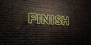 FINISH -Realistic Neon Sign on Brick Wall background - 3D rendered royalty free stock image. Can be used for online banner ads and direct mailers Stock Image