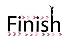 Finish ribbon. silhouette of a girl black. Illustration for your design. the girl raises her arms up Royalty Free Stock Photography
