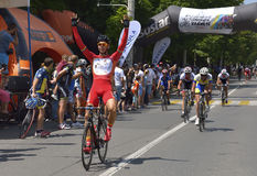 Finish scene, with the joyful winner of one race, in Road Grand Prix event, a high-speed circuit race in Ploiesti-Romania Stock Photos