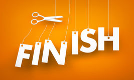 Finish. Scissors cut the ropes Royalty Free Stock Photo