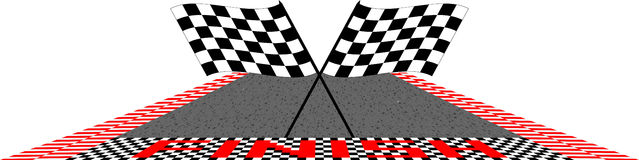 Finish. Speedway and finish line and flags Royalty Free Stock Image