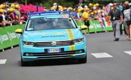 Finish of the Stage 17 in Serre Chevalier ,Tour de France 2017. SERRE-CHEVALIER , FRANCE - JULY 19, 2017. Astana car technique at the Finish of the Stage 17 in Stock Images