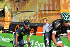Finish of the Stage 17 in Serre Chevalier ,Tour de France 2017. SERRE-CHEVALIER , FRANCE - JULY 19, 2017. Quintana of Movistar team at the Finish of the Stage Royalty Free Stock Image