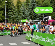 Finish of the Stage 17 in Serre Chevalier ,Tour de France 2017. SERRE-CHEVALIER , FRANCE - JULY 19, 2017. Finish of the Stage 17 in Serre Chevalier , route La Stock Image