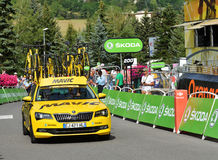 Finish of the Stage 17 in Serre Chevalier ,Tour de France 2017. SERRE-CHEVALIER , FRANCE - JULY 19, 2017. Finish of the Stage 17 in Serre Chevalier , route La Stock Photography