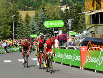Finish of the Stage 17 in Serre Chevalier ,Tour de France 2017. SERRE-CHEVALIER , FRANCE - JULY 19, 2017. Finish of the Stage 17 in Serre Chevalier , route La Stock Photo