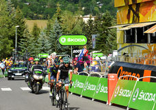 Finish of the Stage 17 in Serre Chevalier ,Tour de France 2017. SERRE-CHEVALIER , FRANCE - JULY 19, 2017. Finish of the Stage 17 in Serre Chevalier , route La Stock Photos