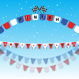 Finish and start flags with confetti. Stock vector Royalty Free Stock Photography