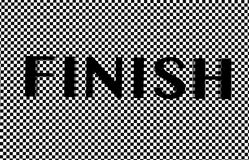 Finish text. On checkered floor Stock Photo