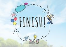 Finish text with drawings graphics Royalty Free Stock Image