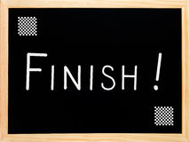 Finish text written on blackboard, chalkboard Royalty Free Stock Photo