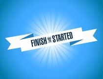 Finish what you started ribbon sign. Vector Illustration. Isolated over blue background Stock Image
