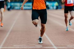 Finish winner runner athlete. Man sprint race of athletics competition Royalty Free Stock Images