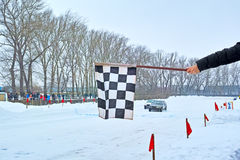 Finish winter car track races Royalty Free Stock Photos