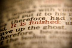 It is Finished. From the book of John. Jesus' last words Royalty Free Stock Photos