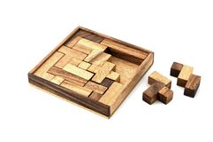 Almost Finished. A wooden puzzle is almost finished Royalty Free Stock Image