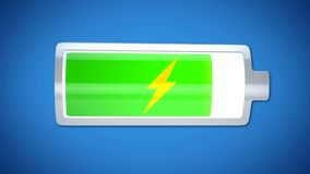 Almost finished battery charging, energy supply, short lifespan of electronics. Stock footage Stock Photography