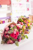 Finished bouquets on the table Royalty Free Stock Images