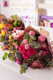 Finished bouquets on the table Stock Photography