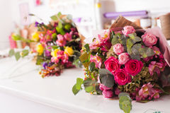 Finished bouquets on the table Royalty Free Stock Image