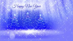 Finished bright composition for New Year background with three 3d Christmas tree from glitter particles, sparkles, stars. Finished bright composition for New stock footage