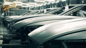 Car bodies at a car manufacturing plant.
