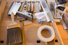 Finished carpenter tools Stock Photo