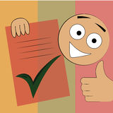 Finished checklist. A happy boy showing its finished check list in a textured background Stock Photo