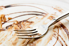 Finished chocolate cake plate Royalty Free Stock Photos