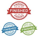 Finished, congrats, great job, vector badge label stamp tag for product, marketing selling online shop or web e-commerce. Finished, congrats, great job, vector Stock Photo