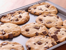 Finished cookies right out of the oven. Shot up close with selective focus Royalty Free Stock Images