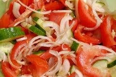 Finished cucumber-tomato salad Stock Photos