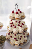 Finished cupcakes with white cream and raspberries Stock Photography