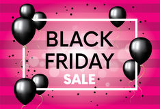 The finished design of the poster, banner or flyer `Black Friday`.. Vector illustration with balloons. Shops and sales Royalty Free Stock Photography