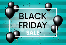 The finished design of the poster, banner or flyer `Black Friday`.. Vector illustration with balloons. Shops and sales Stock Photography