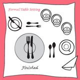 Finished. Dining table setting proper arrangement of cartooned cutlery. Vector illustration Royalty Free Stock Photo