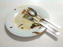 Finished fritou a colher branca desarrumado da forquilha da placa dos pratos do mee Fotos de Stock