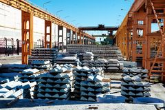 Finished goods warehouse at Concrete Goods Plant Royalty Free Stock Image
