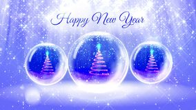 Finished light composition for New Year with 3d Christmas tree from glitter particles and sparkles in snowglobe or. Snowball. With rays such as aurora borealis stock footage