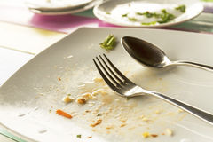 Finished lunch. Picture of a finished lunch empty plates are still on the table Royalty Free Stock Photos