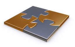 Finished metal puzzle. 3D render of a metal puzzle Royalty Free Stock Photos