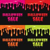 The finished poster design of the `Halloween sale` banner. Vector illustration with a flow of blood or mucus.  Royalty Free Stock Photography