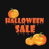 The finished poster design of the `Halloween sale` banner. Vector illustration with a flow of blood or mucus.  Stock Images