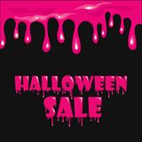 The finished poster design of the `Halloween sale` banner. Vector illustration with a flow of blood or mucus.  Royalty Free Stock Images