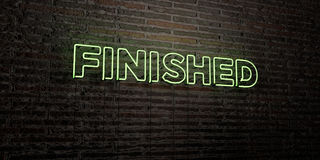 FINISHED -Realistic Neon Sign on Brick Wall background - 3D rendered royalty free stock image. Can be used for online banner ads and direct mailers Stock Photography